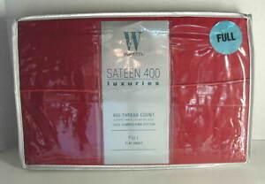 WAMSUTTA-Sateen-400-Luxuries-Red-Pima-Cotton-FULL-FLAT-Bed-Sheet-NEW