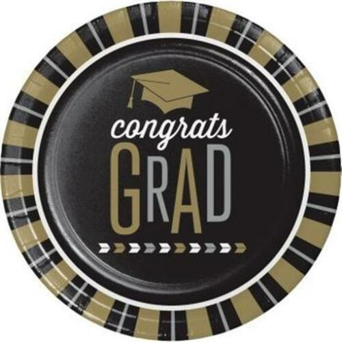 Glitzy Grad 9 Inch Paper Plates 8 Pack Graduation Party Decoration