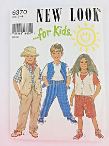 Kids-Sewing-Pattern-Vest-Pants-Shorts-Uncut-Size-3-8-New-Look-Childs-PA212
