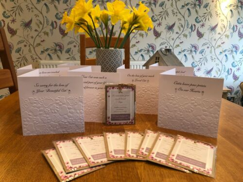 Loss Of Cat Cat Sympathy Cards X 10 and Wildflower Seed Favors X  10