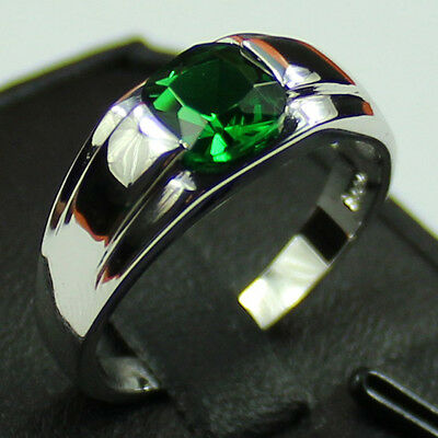 Size 8-12 Jewelry Men's 925 Silver Square Green Emerald Gemstone Ring