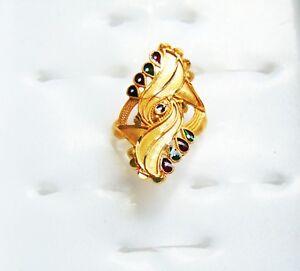18k Gold Plated Ring Indian Bridal Designer Finger Rings Asian New