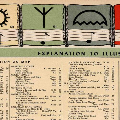 Folk Music History Map of the UNITED STATES circa 1945 by Dorthea Dix Laurence