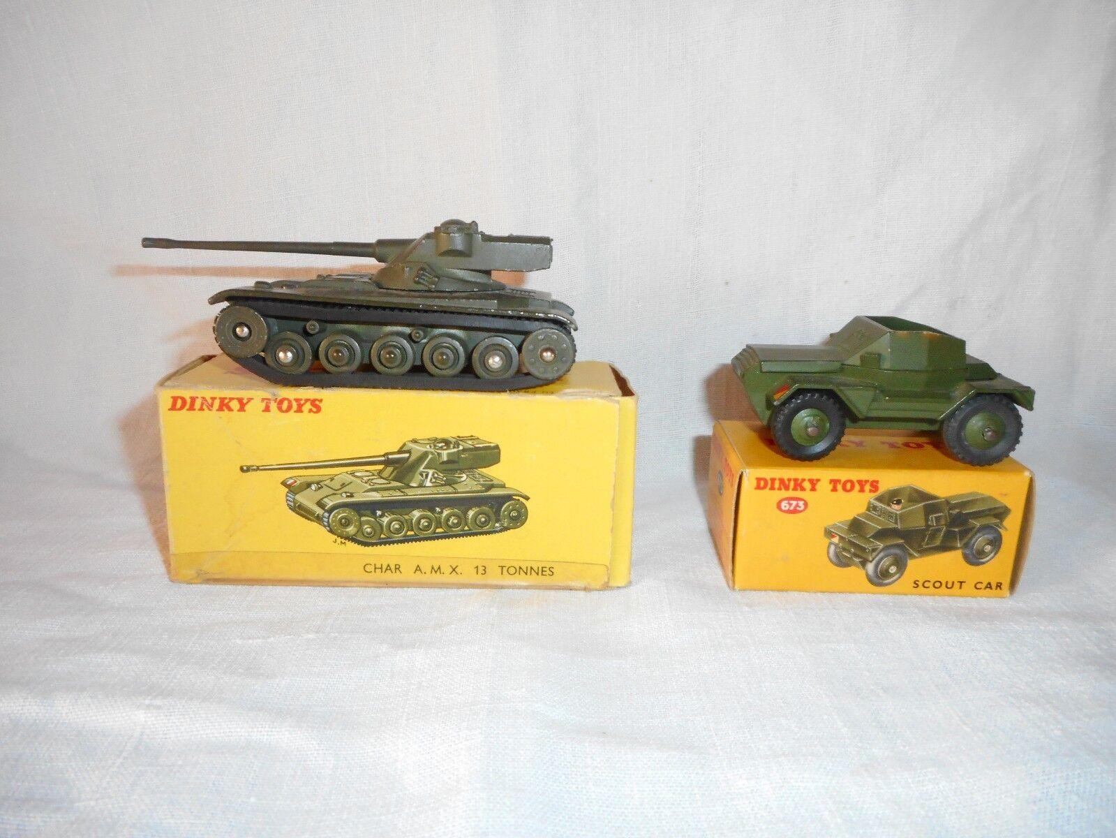 DINKY ancien AMX 13 n° 817   + SCOUT voiture + BOITES D'ORIGINE  livraison gratuite