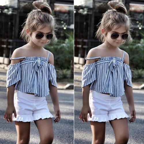 Canis Toddler Kids Girls Striped T-shirt Tops+Shorts Pants Outfit Summer Clothes