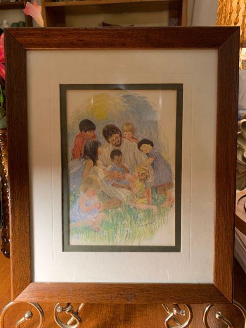 Frances Hook~Christ With Children~Vintage Framed Print In Glass
