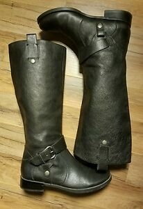 Cowgirl-Riding-Biker-Boots-Nine-West-Takedown-Pebbled-Grain-Black-Leather
