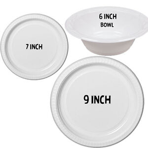 Image is loading NEW-STRONG-PLASTIC-PLATES-DISPOSABLE-100-500-BOWLS-  sc 1 th 225 & NEW STRONG PLASTIC PLATES DISPOSABLE 100 500 BOWLS LARGE SMALL 23 9 ...