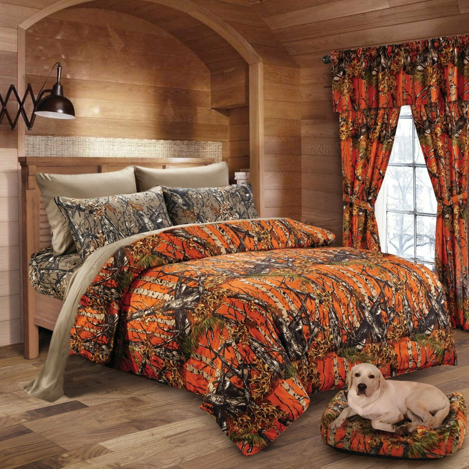 7 PC Orange CAMO CAMO CAMO COMFORTER  WITH NATURAL SHEET SET QUEEN SET CAMOUFLAGE WOODS 0f7d8b