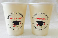 24 Personalized Ivory Hot/cold 9oz. Cups For Boy/girl Graduation Party Supply