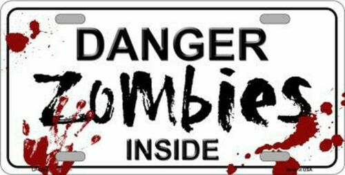 Danger Zombies Inside Bloody Novelty Vanity License Plate Tag Sign