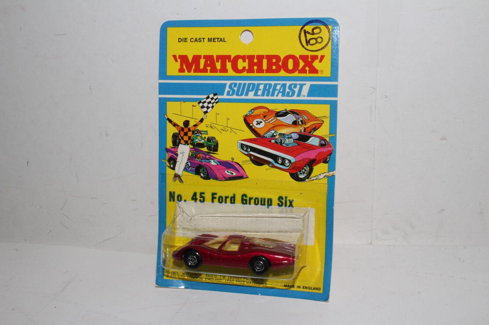 ventas en linea Matchbox súperfast  45 45 45 Ford grupo 6, Magenta, ojos etiquetas en capucha, nuevo en el paquete  promociones de descuento
