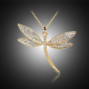 Women-Crystal-Dragonfly-Pendant-Necklace-18K-Gold-Plated-Chain-Choker-Jewelry