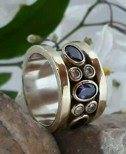 AAA-QUALITY-STERLING-925-SILVER-HANDMADE-JEWELRY-BRAZIL-PURPLE-AMETHYS-BAND-RING
