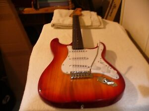 PARTSCASTER RED CHERRY BURST  SSS 1/4 LB  PUPS ELECTRIC GUITAR NEW NECK&TUNERS !