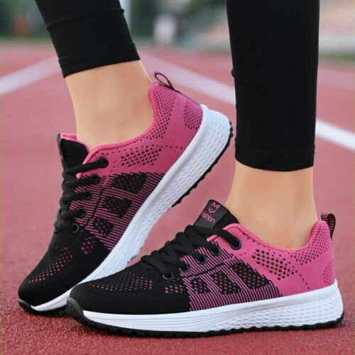 Women Casual Shoes Fashion Breathable Walking Mesh Lace Up Flat Shoes Sneakers