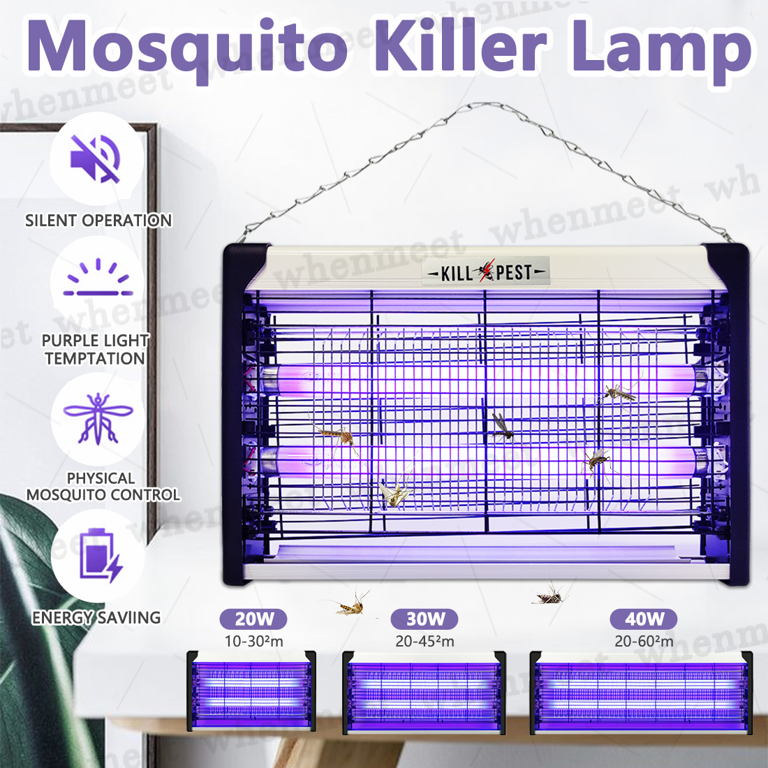 20-40W Powerful Insect Mosquito Fly Killer Bug Zapper UV Home Pest Catcher Trap