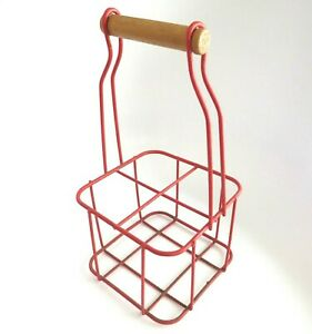 Vintage-Milk-Bottle-Crate-Red-Plastic-Covered-Wire-Wood-Handle