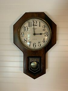 Vintage-Verichron-Regulator-Wall-Clock-Westminster-Chime-Wood-Octagon-face-read
