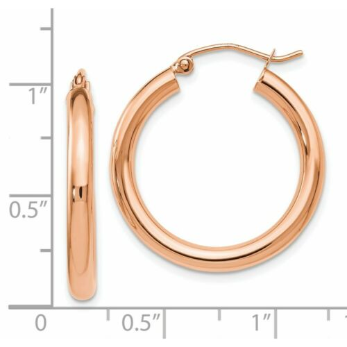 Details about  /Leslie/'s Real 14kt Rose Gold 3mm Polished Hoop Earrings
