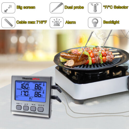 Prolong Dual 2 Probe Digital Meat Cooking Thermometer Grill BBQ Food Oven Smoker