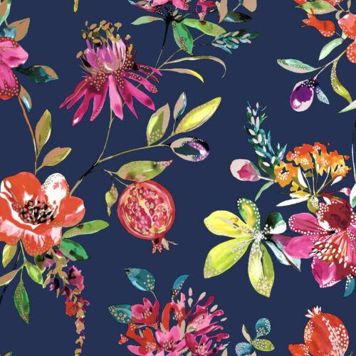 Holden Decor Melgrano Floral Navy Blue Metallic Wallpaper 90521
