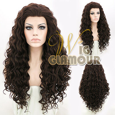 """Long Spiral Curly 26"""" Brown Lace Front Wig Heat Resistant"""