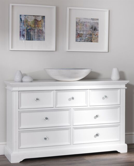 Gainsborough Large White Chest Of Drawers 7 Drawer Dresser Crystal