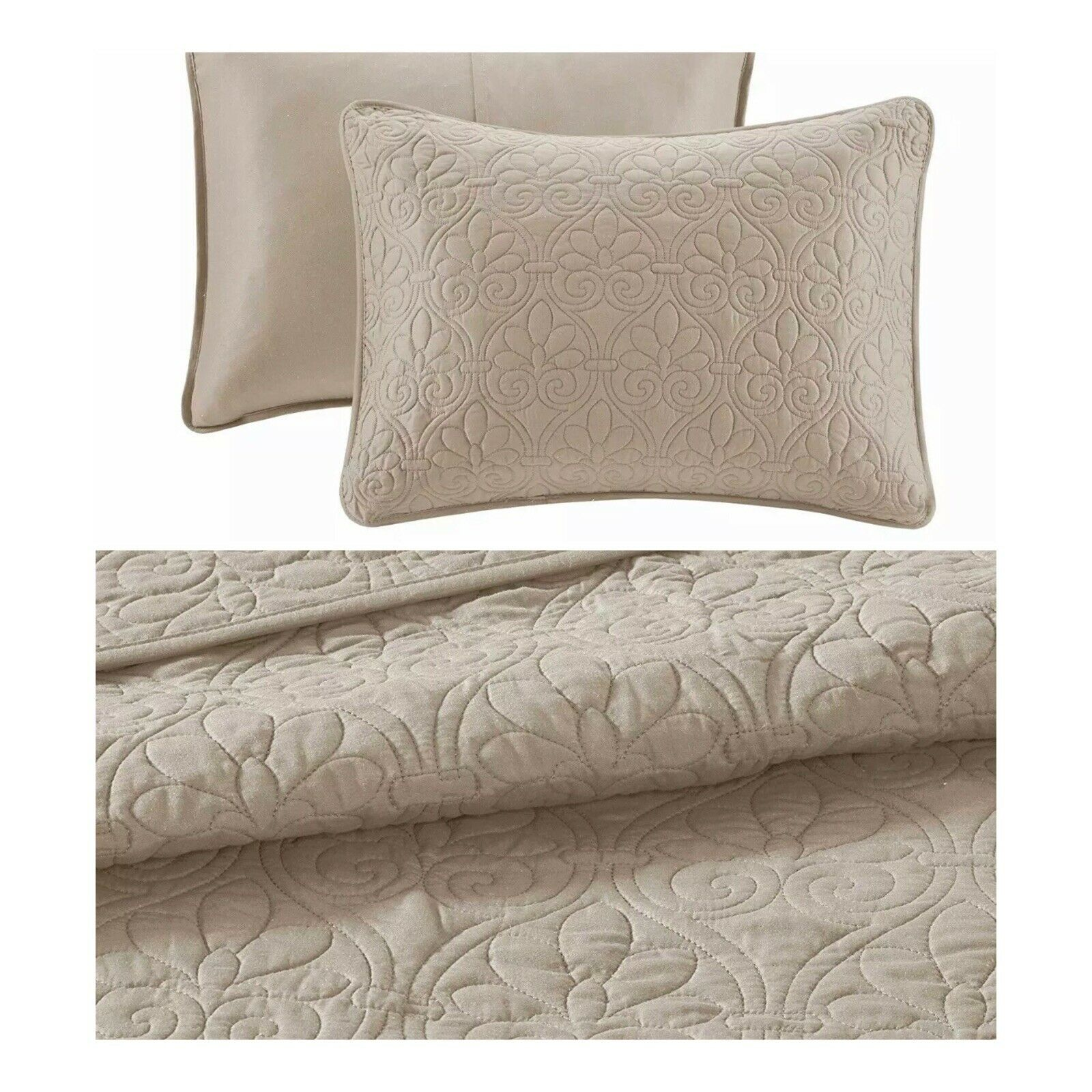 Madison Park 3 Piece Quebec Bedspread Set in Khaki Light Marronee 2 Pillow Shams