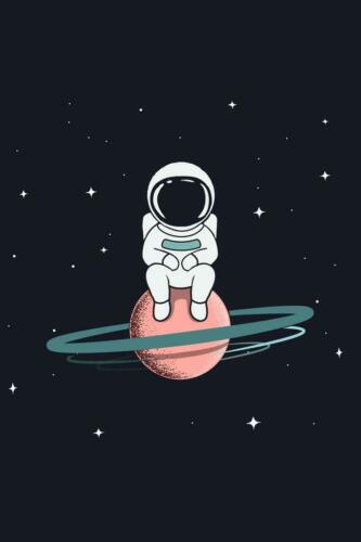 Astronaut Sits on Saturn Funny Art Print Poster 24x36 inch