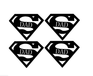 Fathers Day 8x Superman Dad Vinyl Decal Sticker Beer Bauble Glass