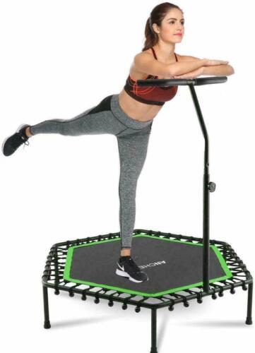 Fitness Trampolin Sport Jumper Minitrampolin Gummiseil Federung Haltegriff 80KG