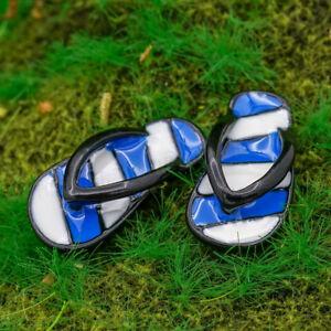 1 12 Blue Flip Flops Miniature Garden Beach Summer Slippers