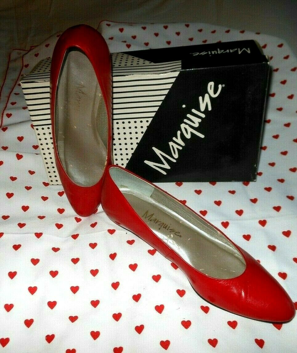 Vintage 1990s Marquise RED Kid Leather Skimmer Fl… - image 1