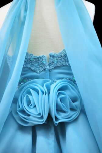 Toddler Girl Pageant Dance Formal Flower Girl Short Aqua Blue Dress 2 3 4 5 6 7