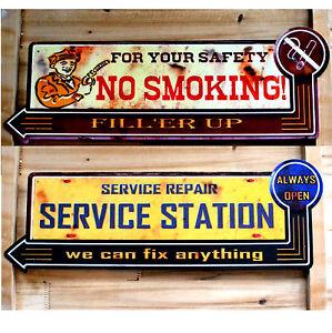 Blechschild-NO-SMOKING-Service-Station-Gasoline-Tankstelle-Werkstatt-Repair-NEU