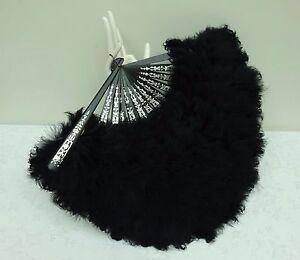 Pretty-Antique-Feather-Hand-Fan-19th-Century-Black-Burlesque-Moulin-Rouge