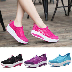 Women Platform Shoes Lace UP Shape Ups Toning Fitness Walking Trainers Sneakers