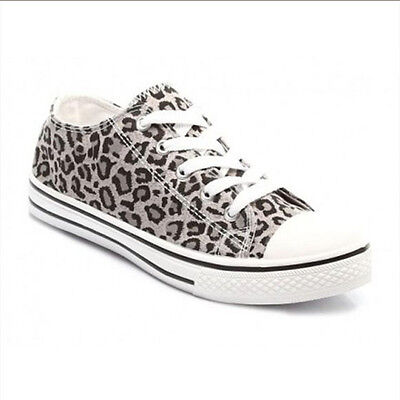 Mujer de las Señoras Con Cordones Flat Hi Top Zapatillas De Tenis Lona Zapatillas Zapatos Talla 3-8