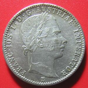 AUSTRIA-1859-B-1-4-FLORIN-SILVER-NICE-DETAILS-RARE-AUSTRIAN-COLLECTABLE-COIN