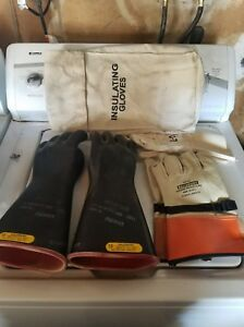 Salisbury Rubber Lineman Gloves Class 2 D120 Type I 17,000VAC Used SIZE 10 #3