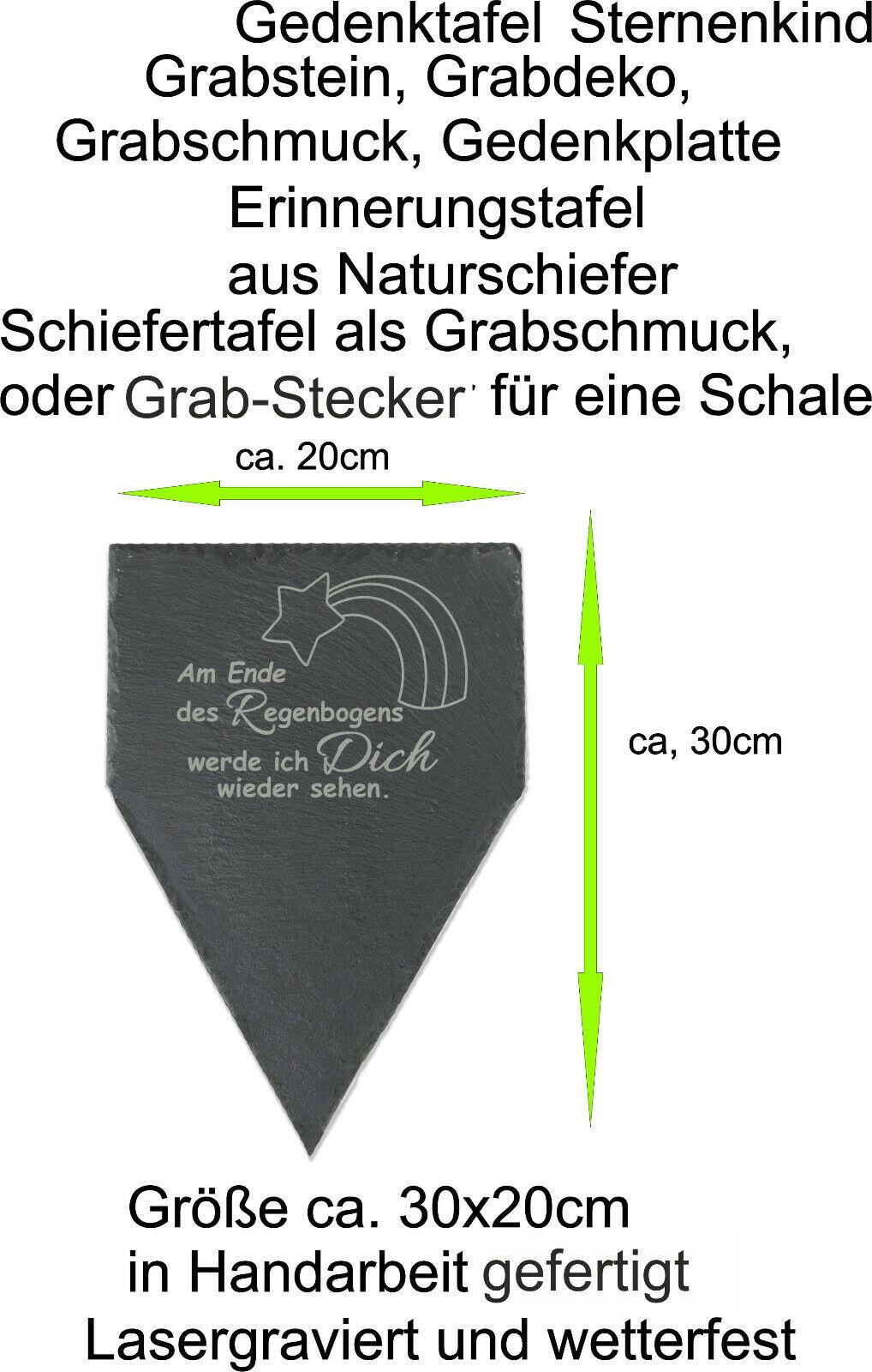 Grabschmuck Gedenktafel Trauerspruch Schiefer Grabstein Grabplatte Regenbogen