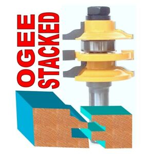 """1 PC 1/2"""" Shank Stacked Ogee Rail & Stile Router Bit"""