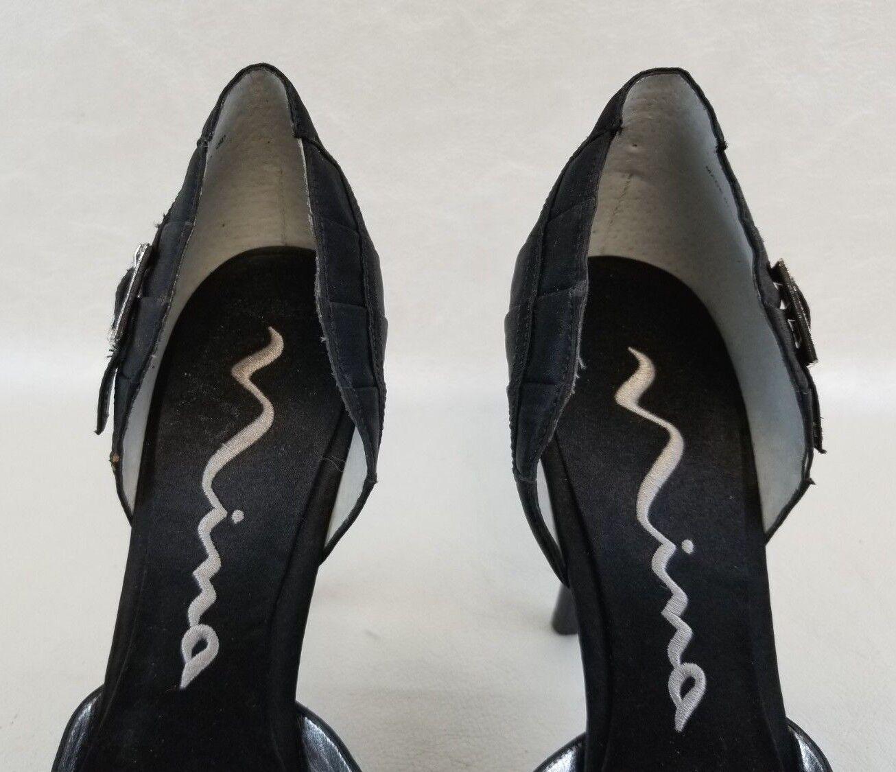 Nina Black Satin Satin Satin Fabric Rhinestone Buckle Heels Womens Pointy Toe shoes Size 9 d20164