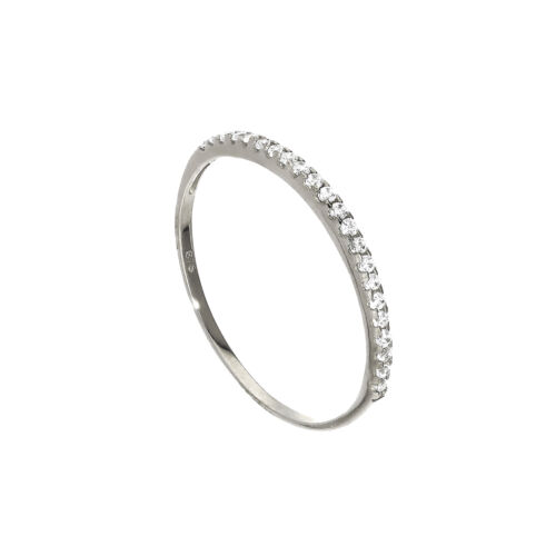 Real 375 9ct White Gold /& Clear CZ Crystal Half Eternity Stacking Ring Size I-U