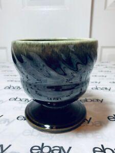 Hull USA Planter Pot F34 Pedestal Glazed Brown Green Cream Art Pottery Vintage