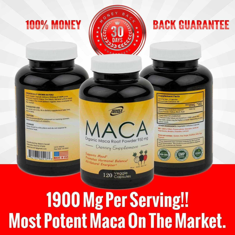 Organic Black Red Yellow MACA ROOT Powder Capsules 1900 mg For Men Women 120 CT