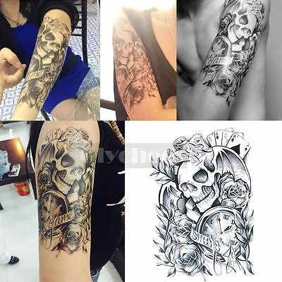 Large Sexy Tattoo Skull Temporary Body Arm Stickers Black Removable Waterproof