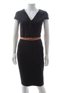 Victoria-Beckham-Belted-Cotton-Blend-Dress-Black-RRP-1-395-00
