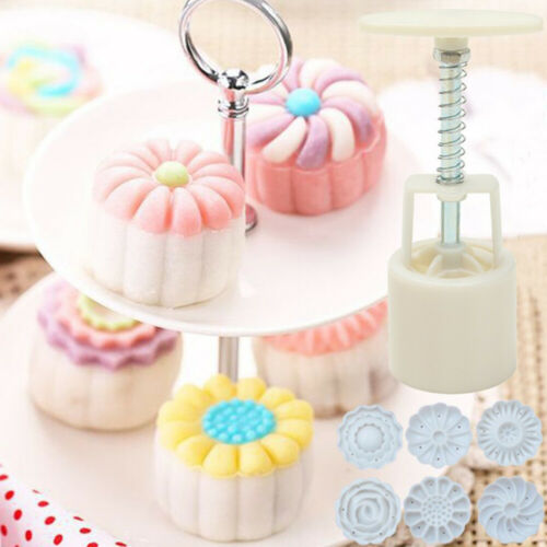 1* Hand Pressure Round Flower Mooncake Mold for Home Baking With 6 Flower Stamps
